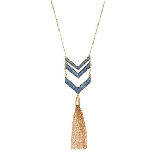 Blue Marbled Chevron Long Tassel Y Necklace