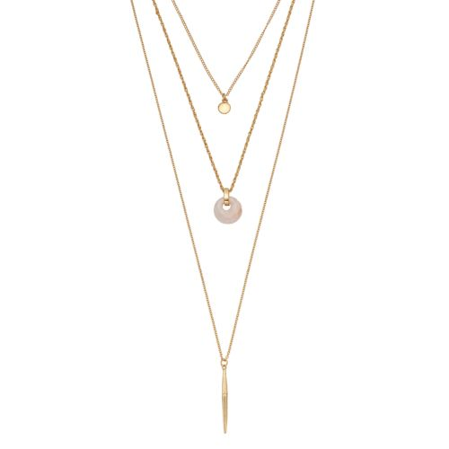 Pink Disc & Vertical Stick Layered Necklace