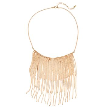 Box Chain Waterfall Fringe Statement Necklace