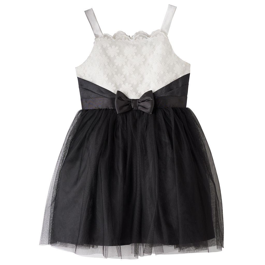 Girls 7-16 Lilt Black & White Scalloped Neck Dress