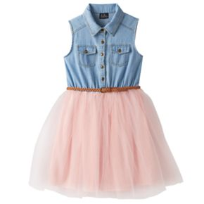 Girls 7-16 Lilt Denim Mesh Tulle Belted Shirtdress