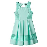 Girls 7-16 Lilt Mint Eyelet Textured Skater Dress