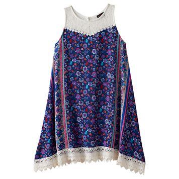 Girls 7-16 Lilt Flower Print Lace Trim Handkerchief Hem Dress