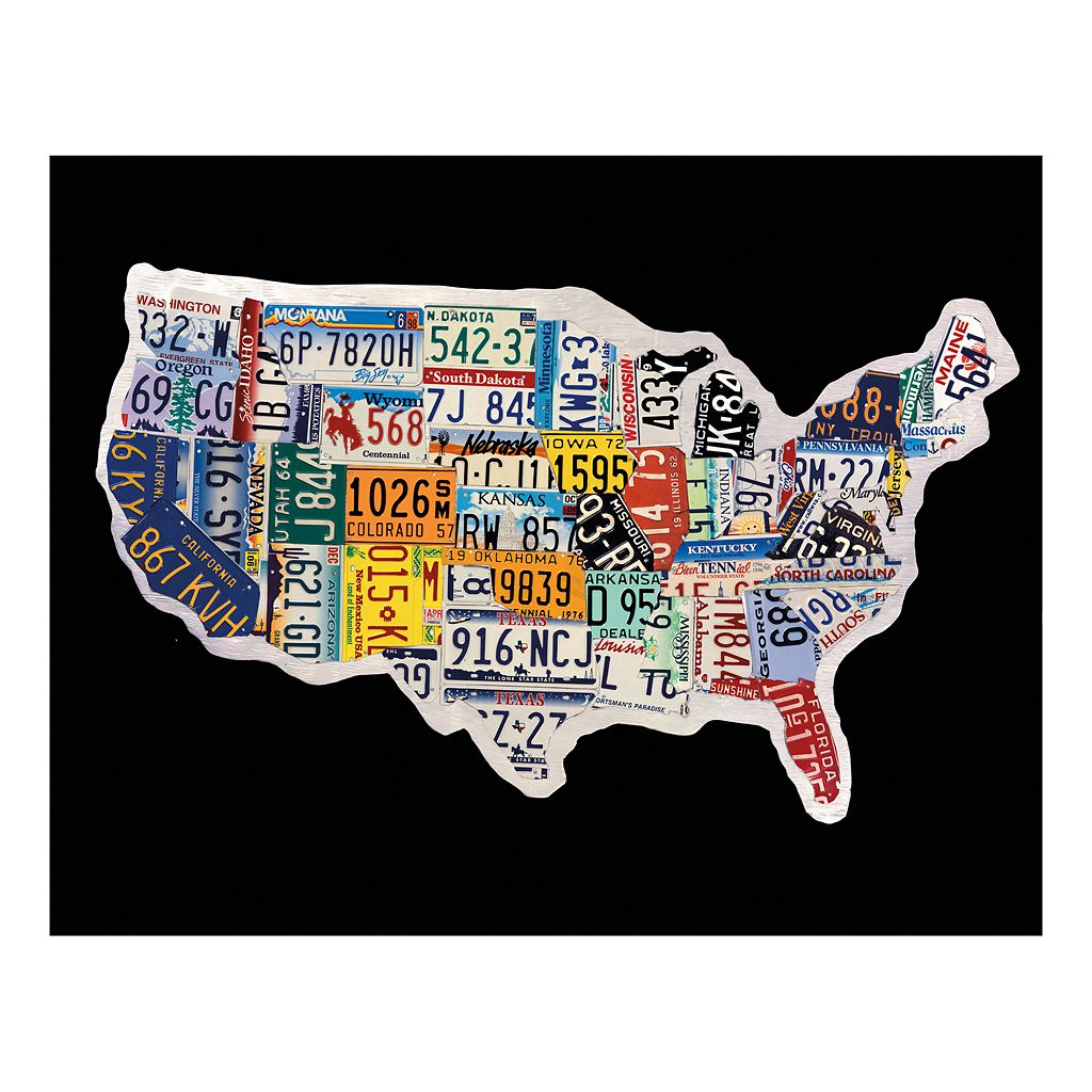 USA License Map Canvas Wall Art