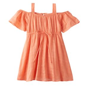 Girls 7-16 My Michelle Crochet Cold Shoulder A-Line Dress
