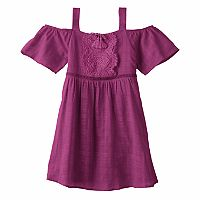 Girls 7-16 My Michelle Crochet Cold Shoulder A-Line Dress