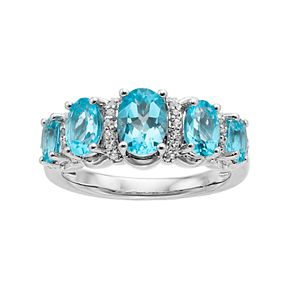Sterling Silver Swiss Blue Topaz & Cubic Zirconia 5-Stone Ring