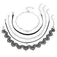 Black Scalloped Lace Choker Necklace Set