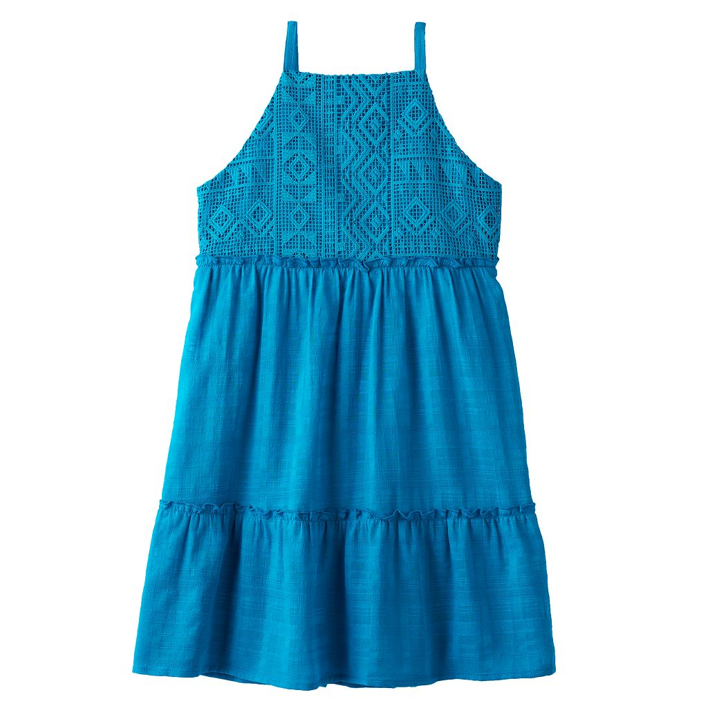 Girls 7-16 My Michelle Tribal Crochet Bodice Dress