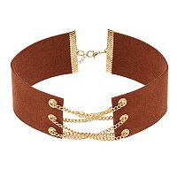 Brown Faux Suede Crisscross Chain Choker Necklace