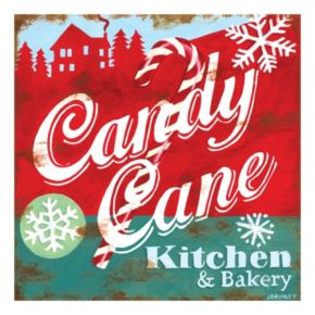 """Candy Cane Kitchen & Bakery"" Canvas Wall Art"