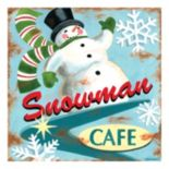 """Snowman Cafe"" Canvas Wall Art"