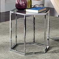 Safavieh Geometric Glass End Table