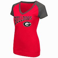 Women's Campus Heritage Georgia Bulldogs First Base V-Neck Tee