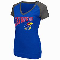 Women's Campus Heritage Kansas Jayhawks First Base V-Neck Tee