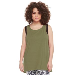 madden NYC Juniors' Plus Size Mesh Trim Tank