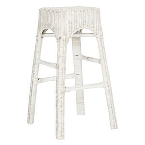 Safavieh Distressed White Wicker Stool