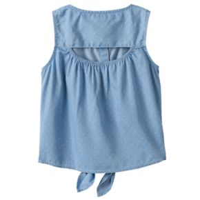 Girls 4-12 SONOMA Goods for Life? Chambray Tie-Front Top