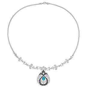 Le Vieux Turquoise, Marcasite & Crystal Teardrop Pendant