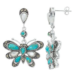 Le Vieux Silver Plated Simulated Turquoise, Marcasite & Mother-of-Pearl Butterfly Earrings