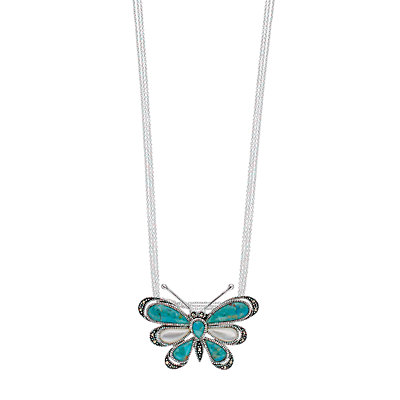 Le Vieux Simulated Turquoise, Mother-of-Pearl & Marcasite Butterfly Pendant