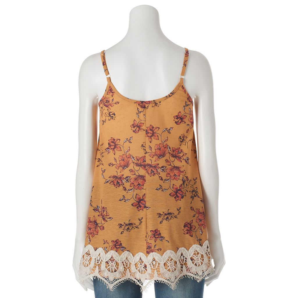Juniors' Rewind Crochet Trim Tank