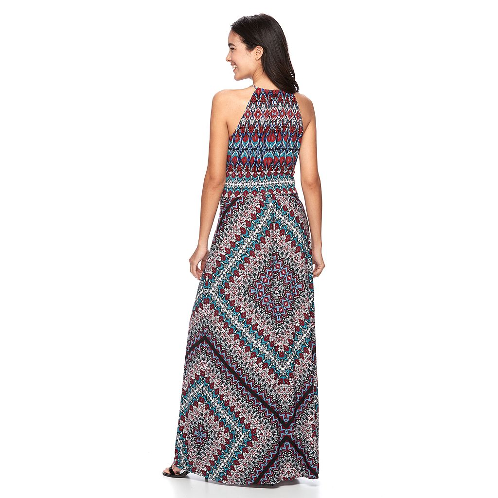 Women's Suite 7 Abstract Halter Maxi Dress