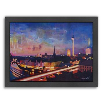 Americanflat Berlin Skyline Dusk 2 Framed Wall Art