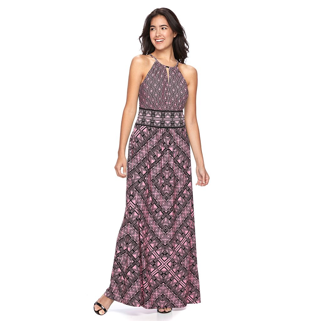 Women's Suite 7 Abstract Geometric Halter Dress