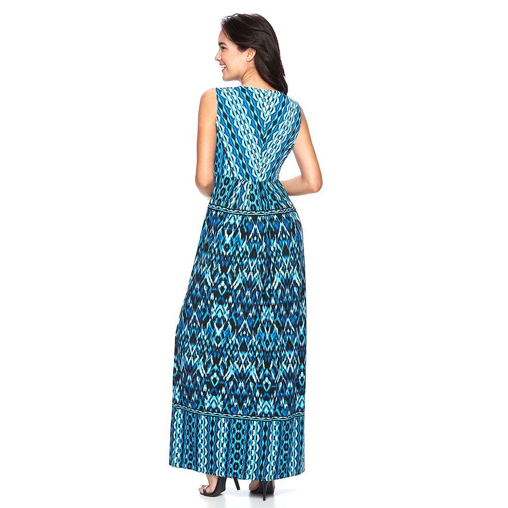 Women's Suite 7 Pleated Ikat Maxi Dress