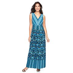 Women's Suite 7 Pleated Ikat Maxi Dress