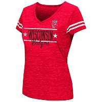 Juniors' Campus Heritage Wisconsin Badgers Double Stag V-Neck Tee