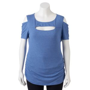 Juniors' Plus Size Candie's® Ribbed Cutout Tee