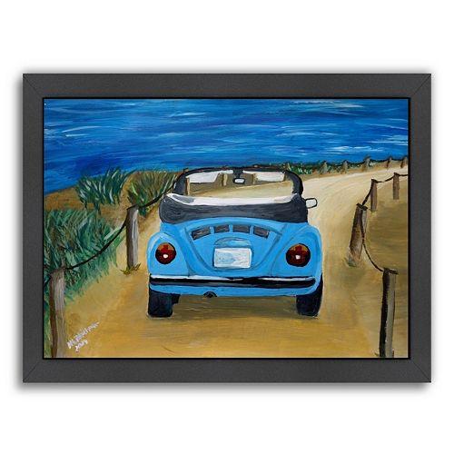 Americanflat Blue Bug At Beach Framed Wall Art