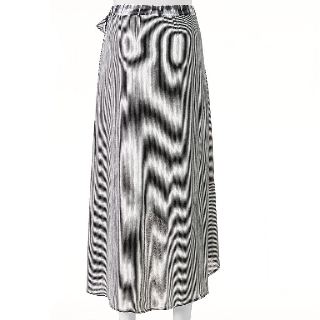 Juniors' Joe B Stripe Tie Side Maxi Skirt