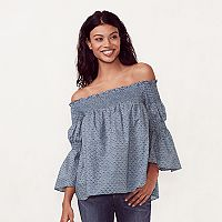 Women's LC Lauren Conrad Smocked Off-the-Shoulder Top