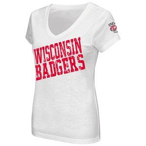 Juniors' Campus Heritage Wisconsin Badgers  Shoutout V-Neck Tee