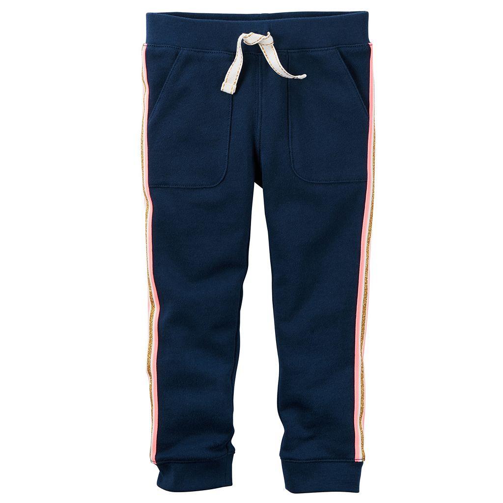Toddler Girl Carter's Metallic Stripe French Terry Jogger Pants
