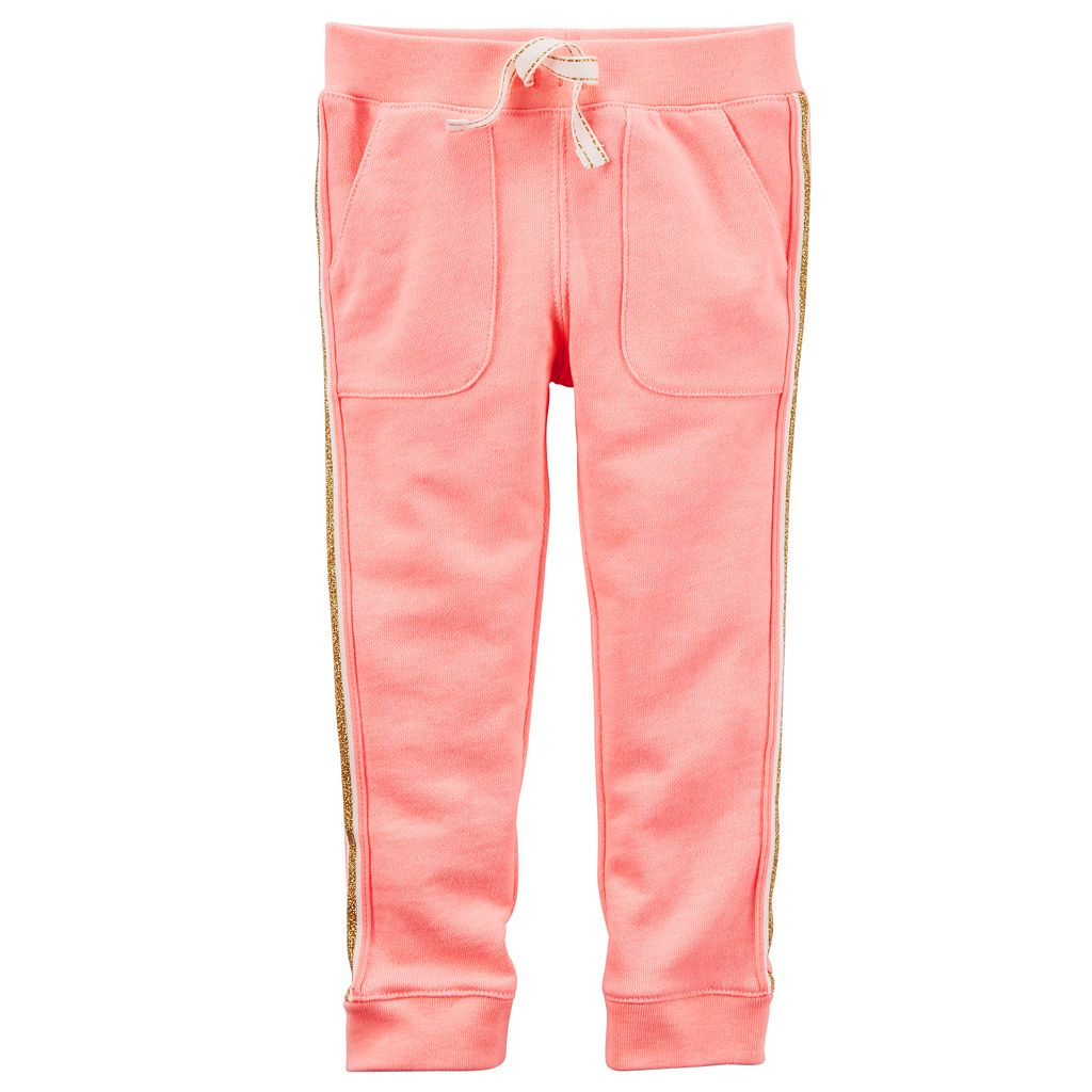 Girls 4-8 Carter's Metallic Stripe French Terry Jogger Pants