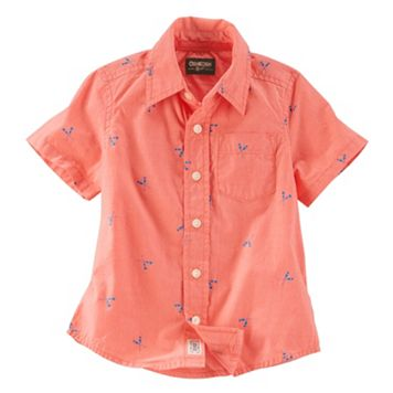 Toddler Boy OshKosh B'gosh® Paddle Print Short Sleeve Poplin Button-Down Shirt