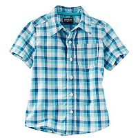 Toddler Boy OshKosh B'gosh® Short Sleeve Blue Plaid Poplin Button-Down Shirt