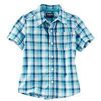 Toddler Boy OshKosh B'gosh® Short Sleeve Blue Plaid Poplin Button-Down Shirt
