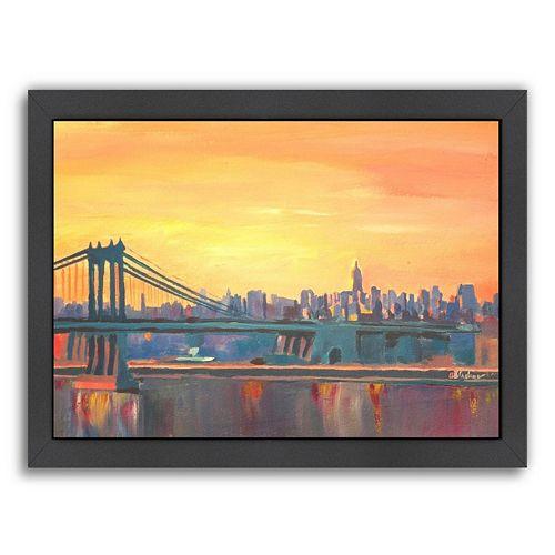 Americanflat Manhattan Skyline Framed Wall Art