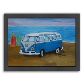 Americanflat Blue Surf Bus Framed Wall Art