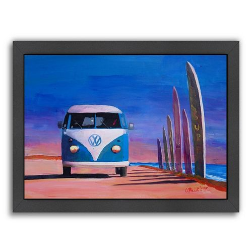 Americanflat Blue White Surf Bus Framed Wall Art