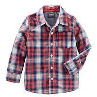 Toddler Boy OshKosh B'gosh® Long Sleeve Plaid Poplin Button-Down Shirt