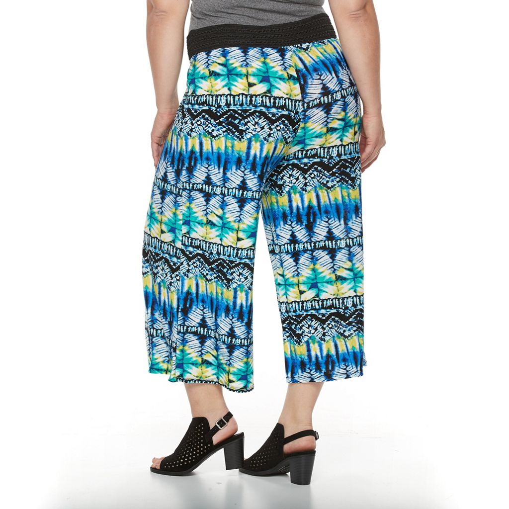 Plus Size French Laundry Crochet Waistband Printed Palazzo Pants