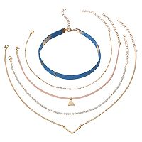 Blue Fabric, Simulated Pearl & Triange Necklace Set