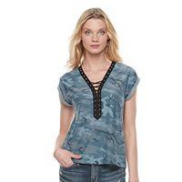 Women's Rock & Republic® Lace-Up Camo Tee