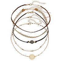 Lace, Braid, Medallion & Fireball Choker Necklace Set